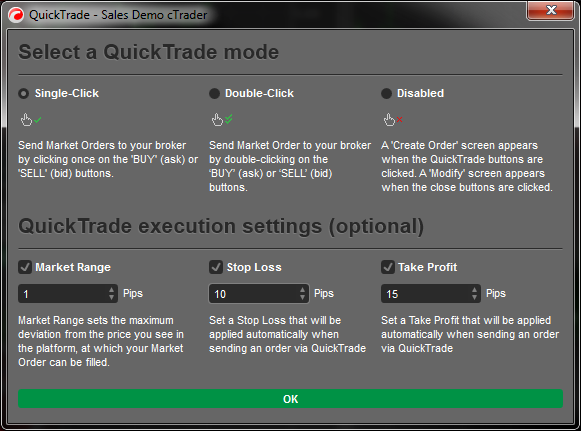 cTrader Quick trade