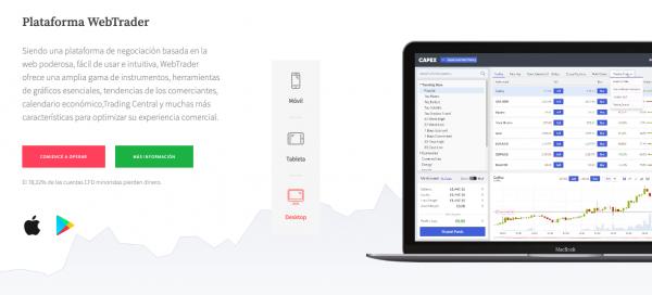 plataforma WebTrader de capex.com